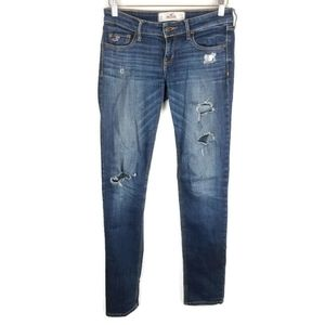 Hollister Ripped Jeans Straight Leg Embroidered